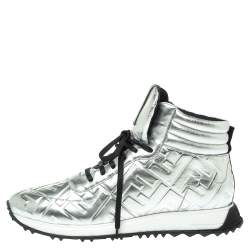 Fendi Silver Leather FFreedom High Top Sneakers Size 43
