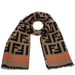 Fendi Brown Contrast Stripe FF Wool Jacquard Scarf