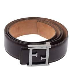Fendi Dark Brown Leather FF Logo Belt 100CM