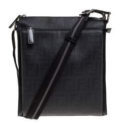 Fendi Black Zucca Coated Canvas Messenger Bag