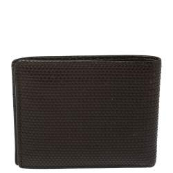 Fendi Dark Brown Woven Embossed Leather Bi Fold Wallet