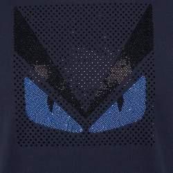 Fendi Navy Blue Cotton Crystal Monster Embellished Crewneck T-Shirt M