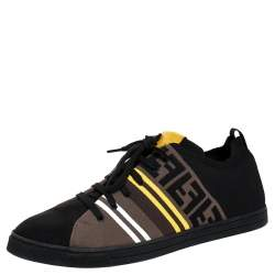 Fendi Black Stretch Knit Fabric And Canvas Low Top Sneakers Size 46