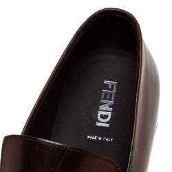 Fendi Brown Leather Buckle Detail Moccasins Size 43
