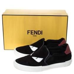 Fendi Black Suede Leather Bag Bugs Eye Low Top Sneakers Size 42.5