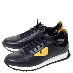 Fendi Black Leather Bag Bugs Spiked Low Top Sneakers Size 43