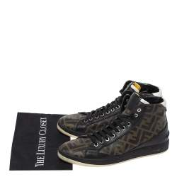 Fendi Black/Brown Zucca Coated Canvas And Leather Wimbledon High Top Sneakers Size 41