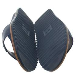 Fendi Blue Rubber Embossed Fendi Logo Slide Sandals Size 42