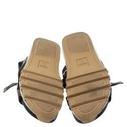 Fendi Multicolor Leather and Polyester FF Strappy Sandals Size 42