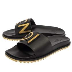 Fendi Black Rubber Logo Print Slide Sandals Size 44