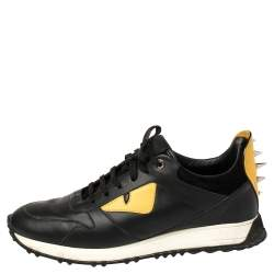 Fendi Black/Yellow Leather Monster Studded Sneakers Size 42