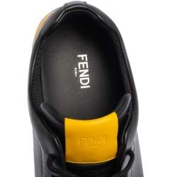 Fendi Black/Yellow Leather Face Low Top Sneakers Size 43