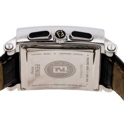 Fendi Black Stainless Steel Ceramic Quadro 6500G Men's Wristwatch 39 mm