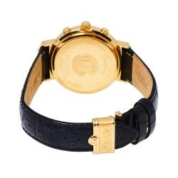 Fendi Black Gold Plated Stainless Steel Leather Orologi 4500G Chronograph Men's Wristwatch 39 mm