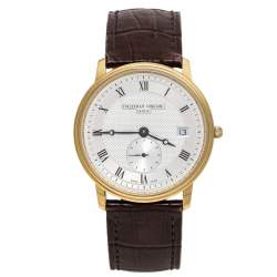 Frederique Constant Silver Yellow Gold Plated Stainless Steel Crococalf Leather Classic Slim Line Men's Wristwatch 37 mm