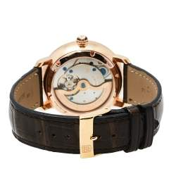 Frederique Constant Rose Gold Plated Stainless Steel Leather Slimline Moonphase Men's Wristwatch 42 mm