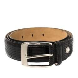 Gianfranco Ferre Black Woven Leather Belt 105 CM