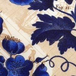 Gianfranco Ferre Blue & Cream Vine Print Silk Tie
