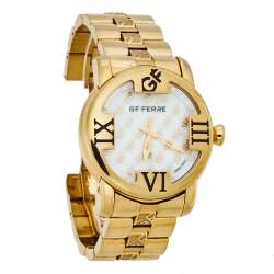 GF Ferre Mother of Pearl Gold Plated Stainless Steel GF.9025B Quartz Men's Wristwatch 41MM