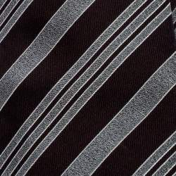 Giorgio Armani Burgundy and Grey Diagonal Striped Silk Jacquard Tie