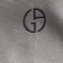 Giorgio Armani Grey Pinstripe Tonal Pattern Silk Jacquard Classic Tie