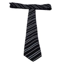 Giorgio Armani Black Diagonal Striped Silk Jacquard Classic Tie