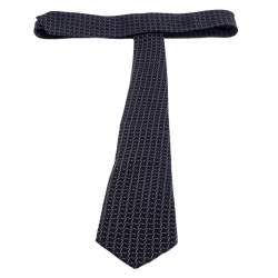 Giorgio Armani Navy Blue Patterned Silk Jacquard Classic Tie
