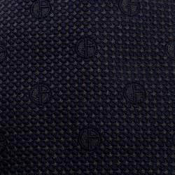 Giorgio Armani Navy Blue Monogram Patterned Silk Jacquard Classic Tie