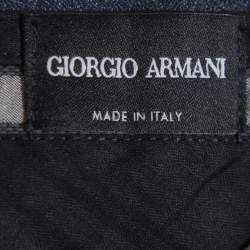 Giorgio Armani Navy Blue Speckled Wool & Silk Classic Trousers 4XL