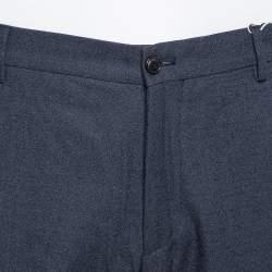 Giorgio Armani Navy Blue Speckled Wool & Silk Classic Trousers 3XL