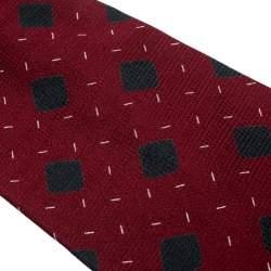 Giorgio Armani Vintage Burgundy Diamond Pattern Silk Jacquard Traditional Tie