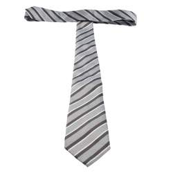 Giorgio Armani Grey Diagonal Striped Silk Jacquard Classic Tie