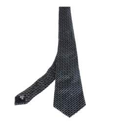 Giorgio Armani Navy Blue Diagonal Stripe Detail Silk Tie