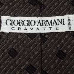 Giorgio Armani Dark Green Geometric Detail Silk Traditional Tie