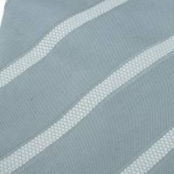 Giorgio Armani Grey Striped Silk Tie