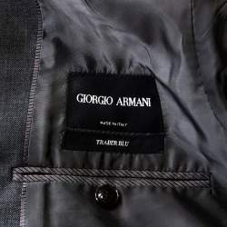 Giorgio Armani Grey Wool Trader Blu Suit 3XL