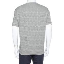 Giorgio Armani Grey Chevron Knit Short Sleeve Sweater 2XL