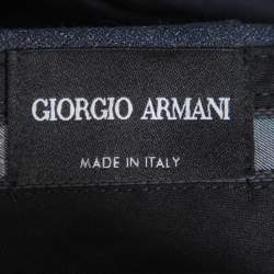 Giorgio Armani Navy Blue Speckled Wool & Silk Classic Trousers 3XL
