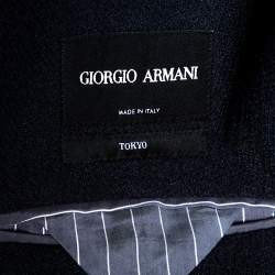 Giorgio Armani Navy Blue Textured Knit Double Breasted Blazer XXL