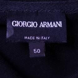 Giorgio Armani Black Cotton Pique Striped Polo T-Shirt L