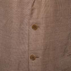 جاكيت بليزر جورجيو أرماني أزرار أمامية كتان نمط مربعات صغيرة بني مقاس كبير جداً جداً جداً جداً جداً (اكس اكس اكس اكس اكس لارج)
