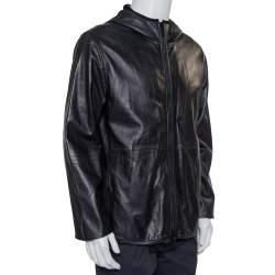 Giorgio Armani Black Leather Hooded Zip Front Jacket XXL