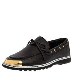 Giuseppe Zanotti Black Leather Bow Slip On Sneakers Size 44