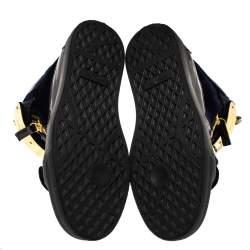 حذاء رياضي جوسيبي زانوتي كوبي عنق مرتفع جلد أزرق وأسود مقاس 49