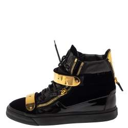 Giuseppe Zanotti Black/Blue Patent Leather and Velvet Coby High Top Sneakers Size 39