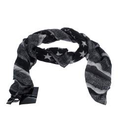 Givenchy Grey American Flag Print Modal Cashmere Scarf