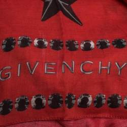 Givenchy Red Star Print Modal & Cotton Blend Square Scarf