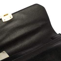 Givenchy Black Grained Leather Lock Flap Wristlet Clutch