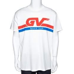 Givenchy Cream Cotton World Tour Print Oversized T Shirt S