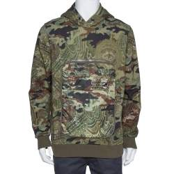 Givenchy Olive Green Floral Camouflage Print Oversized Pocket Detail Hoodie S